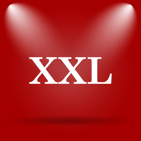 size specification: XXL  icon. Flat icon on red background. Stock Photo