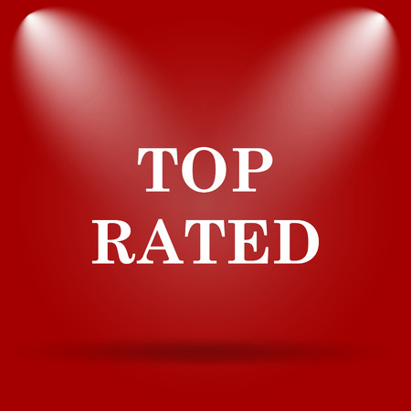 rated: Top rated  icon. Flat icon on red background.