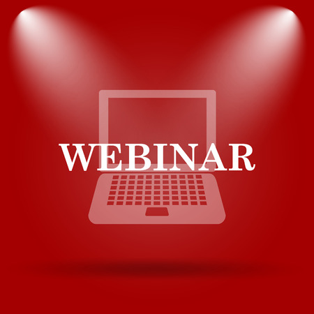 course development: Webinar icon. Flat icon on red background. Stock Photo