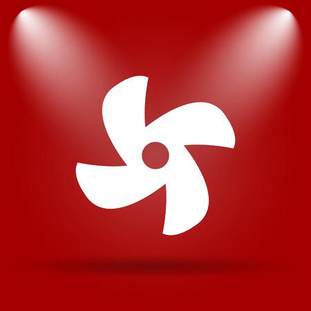 red fan: Fan icon. Flat icon on red background.