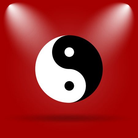 yinyang: Ying yang icon. Flat icon on red background.