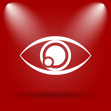 see a doctor: Eye icon. Flat icon on red background.
