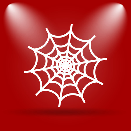 spider web icon: Spider web icon. Flat icon on red background.