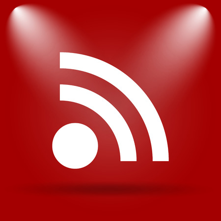 meta: Rss sign icon. Flat icon on red background.