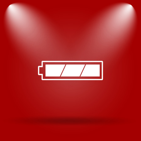 charged: Fully charged battery icon. Flat icon on red background. Stock Photo