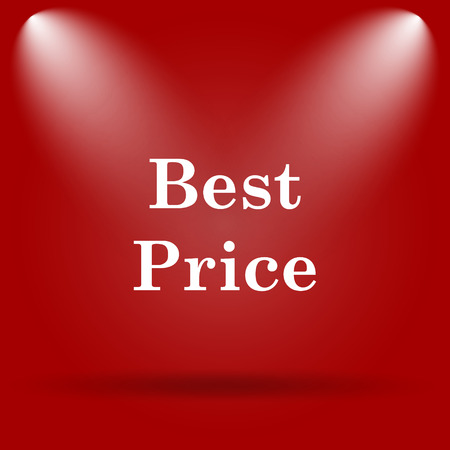 best price icon: Best price icon. Flat icon on red background. Stock Photo
