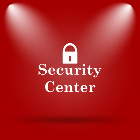 Security center icon. Flat icon on red background. Stock Photo