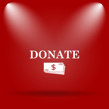 aiding: Donate icon. Flat icon on red background.
