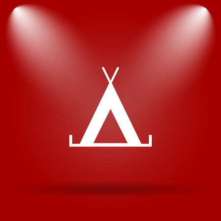 3d bungalow: Tent icon. Flat icon on red background.