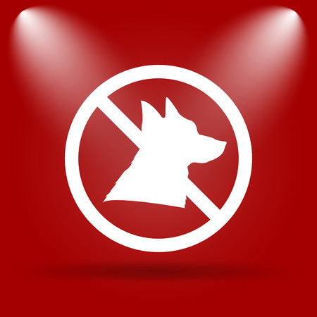 refused: Forbidden dogs icon. Flat icon on red background. Stock Photo
