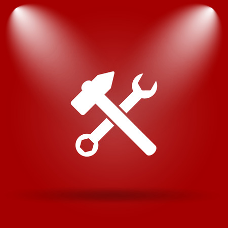 fitter: Tools  icon. Flat icon on red background. Stock Photo