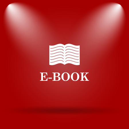 audiobook: E-book icon. Flat icon on red background.