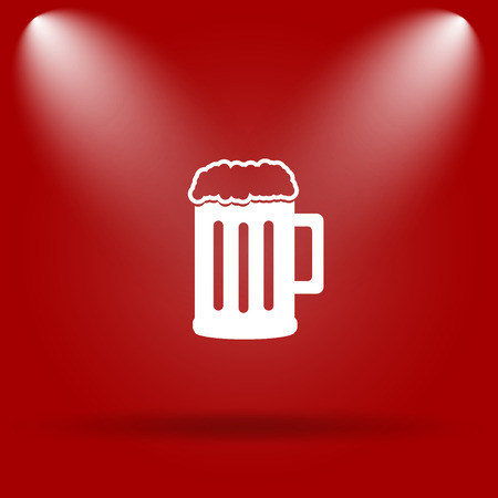 Beer icon. Flat icon on red background.