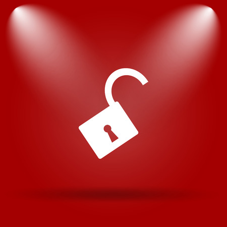 Open lock icon. Flat icon on red background. photo