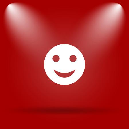 smily: Smiley icon. Flat icon on red background.