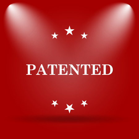 secured property: Patented icon. Flat icon on red background.