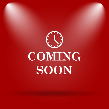 Coming soon icon. Flat icon on red background.