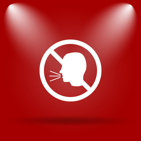 no talking: No talking icon. Flat icon on red background.