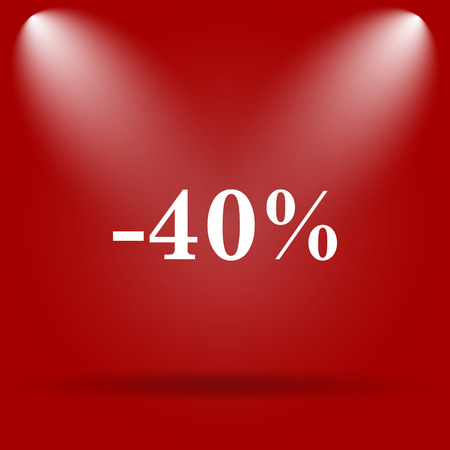 40: 40 percent discount icon. Flat icon on red background.