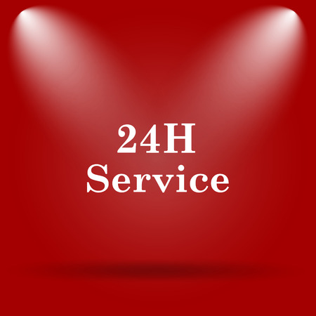 aftersale: 24H Service icon. Flat icon on red background. Stock Photo