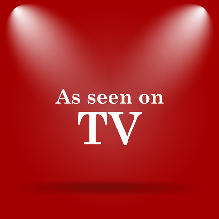 cliche: As seen on TV icon. Flat icon on red background.