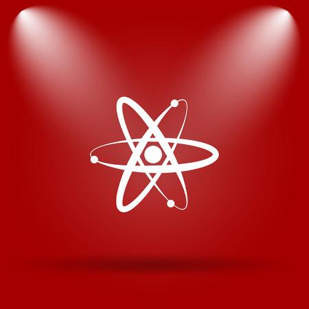 gamma radiation: Atoms icon. Flat icon on red background. Stock Photo