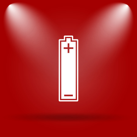 Battery icon. Flat icon on red background. Stock Photo