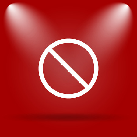 disallowed: Forbidden icon. Flat icon on red background.