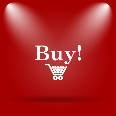 buy icon: Buy icon. Flat icon on red background.