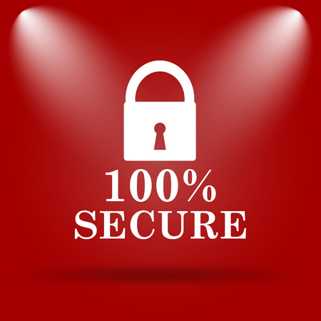 trusty: 100 percent secure icon. Flat icon on red background. Stock Photo