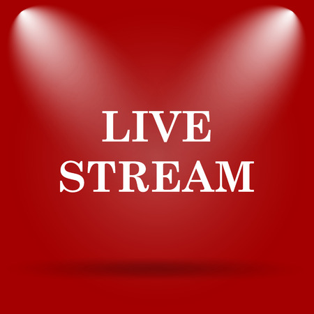 live stream icon: Live stream icon. Flat icon on red background.