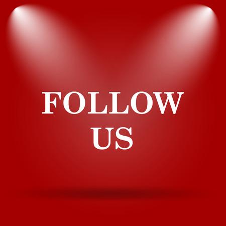 follow icon: Follow us icon. Flat icon on red background.