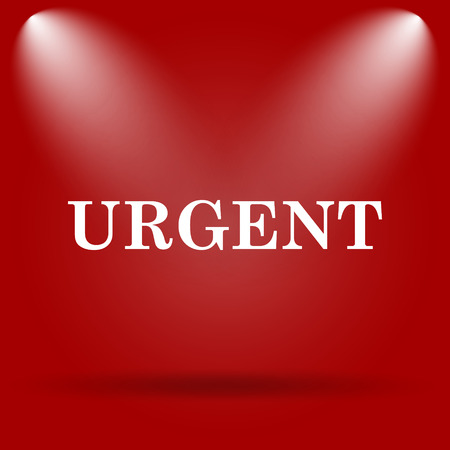 promptness: Urgent icon. Flat icon on red background.