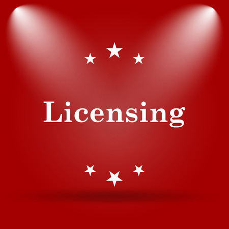 licensing: Licensing icon. Flat icon on red background.