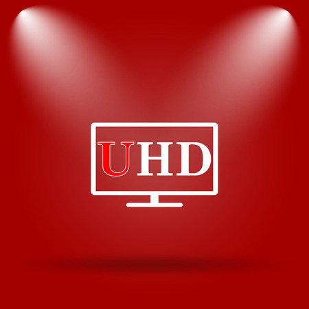 ultra: Ultra HD icon. Flat icon on red background. Stock Photo