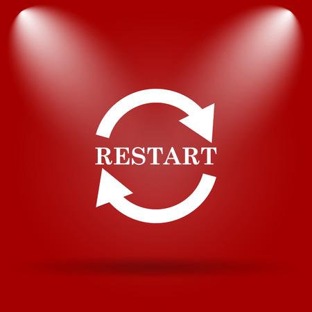 restart: Restart icon. Flat icon on red background. Stock Photo