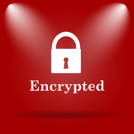 encrypted: Encrypted icon. Flat icon on red background. Stock Photo