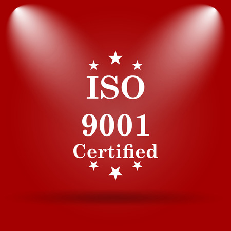 ISO9001 icon. Flat icon on red background.
