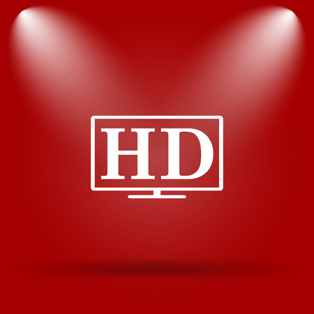 HD TV icon. Flat icon on red background. photo