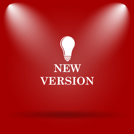 version: New version icon. Flat icon on red background. Stock Photo