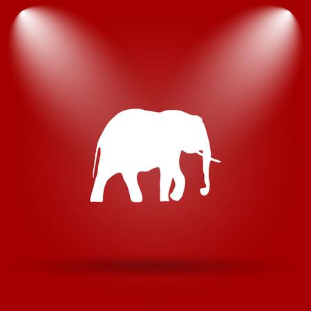 endanger: Elephant icon. Flat icon on red background. Stock Photo