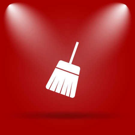 sweep: Sweep icon. Flat icon on red background. Stock Photo