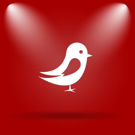 chirp: Bird icon. Flat icon on red background.