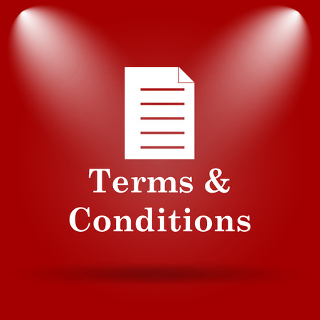 conditions: Terms and conditions icon. Flat icon on red background.