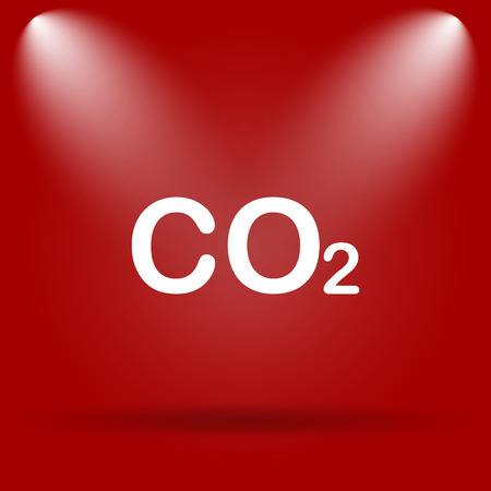 co2: CO2 icon. Flat icon on red background. Stock Photo