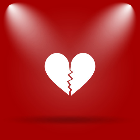 delusion: Broken heart icon. Flat icon on red background.