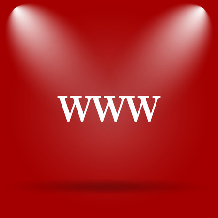 www icon: WWW icon. Flat icon on red background.