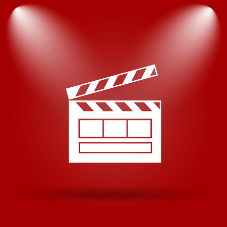Movie icon. Flat icon on red background. photo