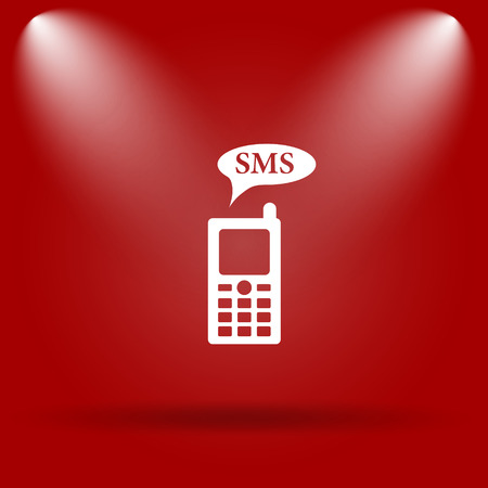 SMS icon. Flat icon on red background. photo