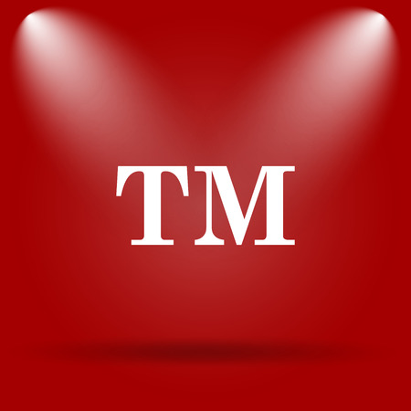 warrant: Trade mark icon. Flat icon on red background. Stock Photo